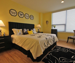 bedroom, decor, and yellow image