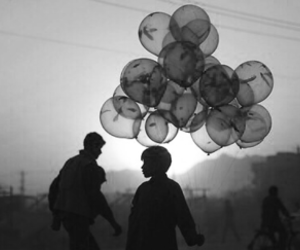balloons, boy, and sunset image