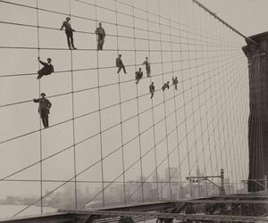 bridge, black and white, and brooklyn bridge image
