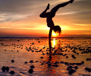 beach, yoga, and puravida image