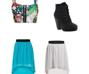 black heels, blue, and skirt image
