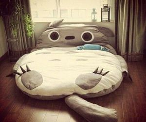 bed, totoro, and cat image