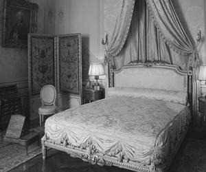 antique, bed, and black and white image