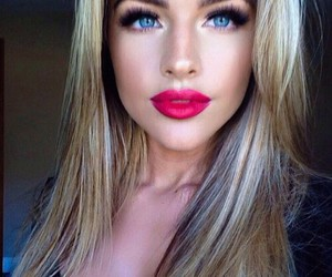 girl, blue eyes, and lips image