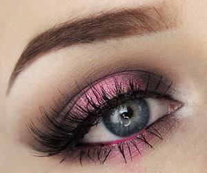 eyes, pink, and makeup image