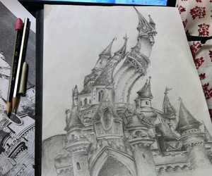 art, castle, and drawing image