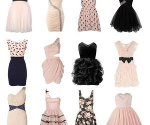 party outfit, pink mini dress, and black mini dress image
