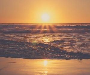 sun, beach, and sunset image