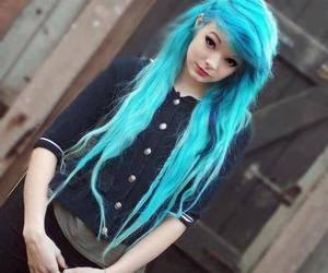 piercing, dyed hair, and blue hair image