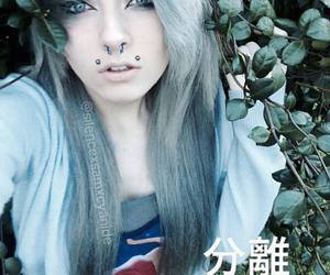 dyed hair, Piercings, and white hair image