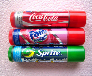 coca cola, lip smacker, and fanta strawberry image
