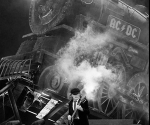 ACDC, black and white, and angus young image
