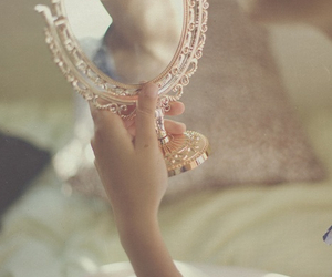 mirror, lips, and vintage image