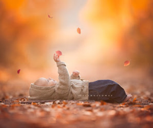 baby, autumn, and leaves image