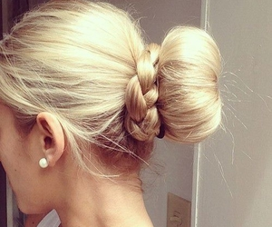 blonde, bun, and hairstyle image