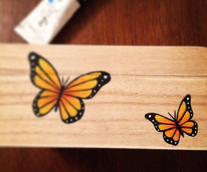 box, hand painted, and monarch butterfly image