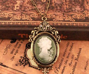 vintage, book, and necklace image