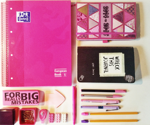 notebook, oxford, and pink image