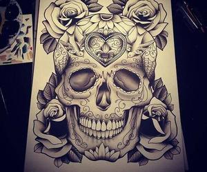tattoo, skull, and art image