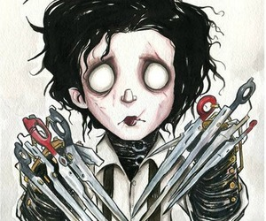 johnny depp, edward, and tim burton image