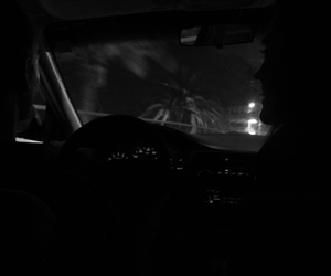 black and white, california, and night image