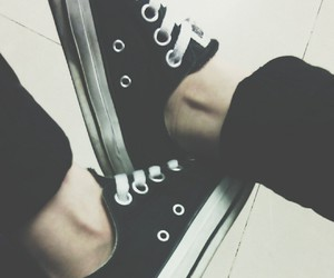 black, converse, and me image