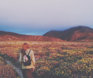 mountains, flowers, and hipster image