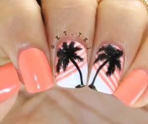 nail art, nail polish, and palm trees image