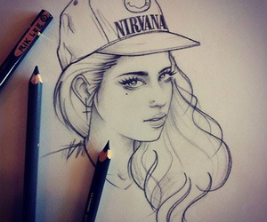 girl, drawing, and nirvana image