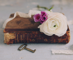 book, flowers, and pastel image