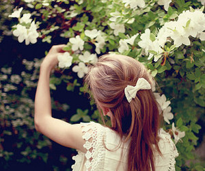 girl, flowers, and bow image