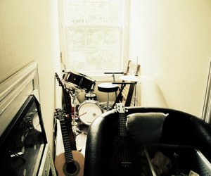 guitar, instruments, and messy image