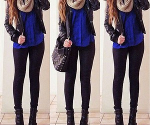 black and blue, fall, and outfit image
