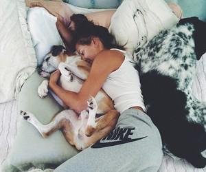 dog, girl, and nike image