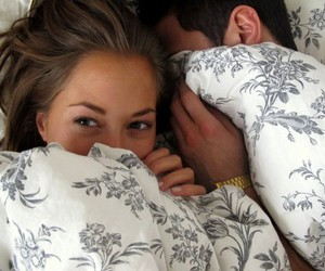 bed, couple, and girl image