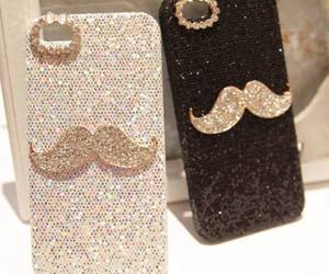 iphone, mustache, and black image