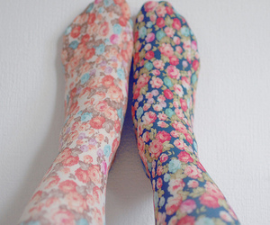 flowers, floral, and tights image
