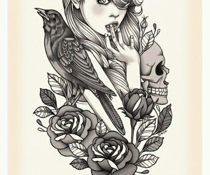 girl, drawing, and rose image