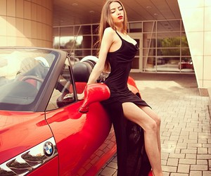 girl, red shoes, and car image