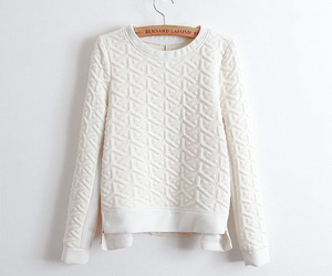 white, fashion, and pullover image
