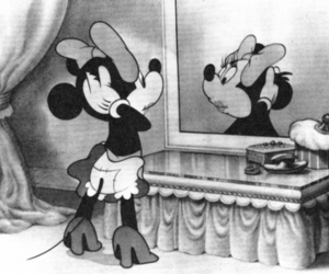 disney, minnie mouse, and black and white image