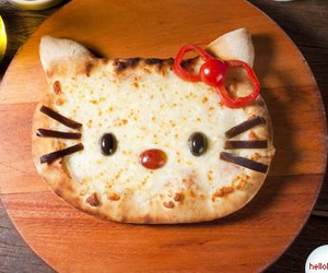 hello kitty, pizza, and food image