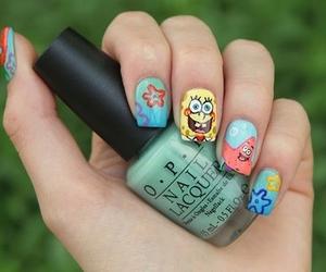 nails, spongebob, and nail art image
