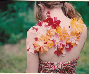 flowers, girl, and back image