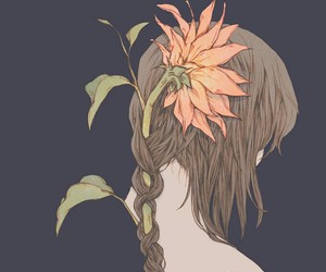 flowers, art, and girl image