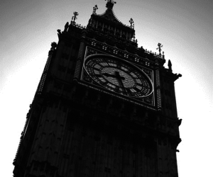 Big Ben, black and white, and clock image