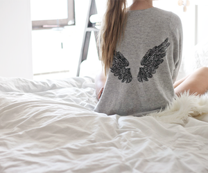 wings, angel, and bed image