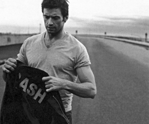 hugh jackman, black and white, and Hot image