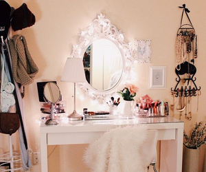 bedroom, girly, and makeup image