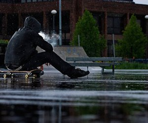 boy, skate, and rain image